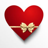 Red paper heart with gold bow — Διανυσματικό Αρχείο
