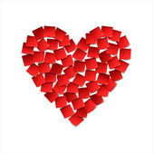 Heart. Red paper stickers — Stock Vector