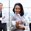 Close up portrait of happy african american businesswoman — Stock Photo #55562877