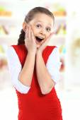 Surprised girl on background — Stock Photo