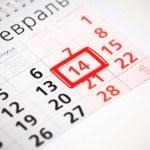 blatt des wandkalenders mit rote markierung am 14. februar - valentinstag — Stockfoto #62972775