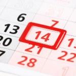 2 月 14 日 - バレンタインの日に赤いマークと壁掛けカレンダー シート — ストック写真 #62972793