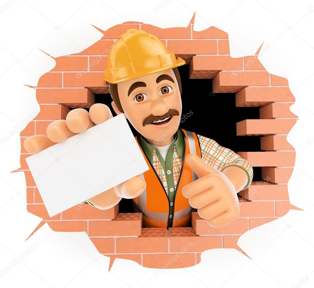 Trabajador 3d saliendo de un agujero de la pared con una - Agujero en la pared ...