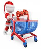 3D white people. Santa Claus shopping Christmas gifts — Stock Photo