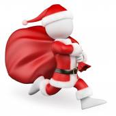 3D white people. Santa Claus running with big bag full of gifts — Stock Photo