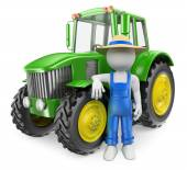 3D white people. Farmer with tractor — Stock Photo