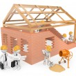 3D white people. Construction workers building a house — Stock Photo #64303091