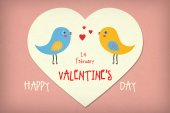 Cute Illustrative Valentines Day Greeting Card — Stok fotoğraf