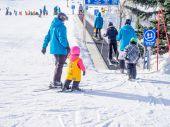 Kids learning to ski at Canada Olympic Park — Stock Photo