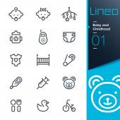 Lineo - Baby and Childhood outline icons — Stock Vector