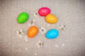 Decorative easter eggs with flowers — Stock Photo