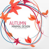 Autumn leaves and lines abstract background — Stock Vector