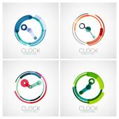 Set of clock, time company logos — Stock Vector
