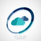 Cloud storage, 3d company logo, minimal design — Stock Vector