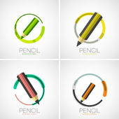 Pencil icon set, company logo, minimal design — Stock Vector