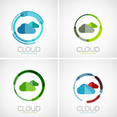Cloud storage logotype set, flat design — Stock Vector