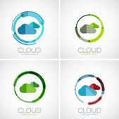 Cloud storage logotype set, flat design — Stock Vector