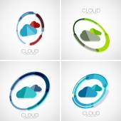 Cloud storage logotype set, 3d minimal design — Stock Vector