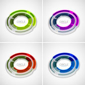 Futuristic rings set, company logo, 3d design — Stock Vector
