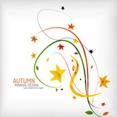 Autumn floral wave on white background — Stock Vector