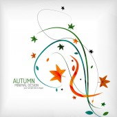 Autumn swirl lines and leaves on white — Stock Vector