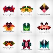 Company logos, paper geometric icon set — Stock Vector