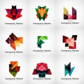 Company logos, paper geometric icon set — Stock Vector