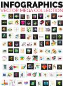 Mega collection of 100 infographic layouts — Stock Vector
