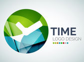 Time, clock logo design made of color pieces — Stock Vector