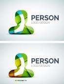 Person logo design made of color pieces — Stockvektor