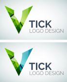 Tick logo design made of color pieces — Stock Vector