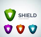 Secure shield logo design made of color pieces — Stock Vector