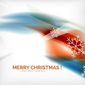 Orange Christmas blurred waves and snowflakes — Stock Vector