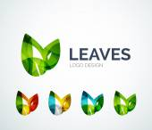Eco leaves logo design made of color pieces — Stock Vector