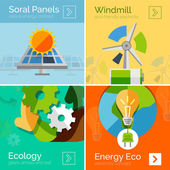 Eco-friendly energy flat design concepts, banners — Vettoriale Stock