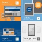 Banner design piatto di dispositivi elettronici — Vettoriale Stock