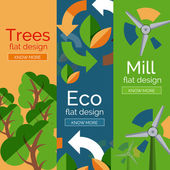 Set of flat design eco concepts — Vector de stock