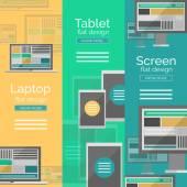 Ensemble de concepts de design plat écran — Vecteur