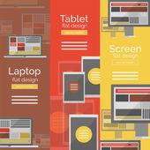 Set of flat design screen concepts — Stock Vector