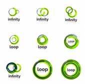 Loop, infinity business icon set — Stok Vektör