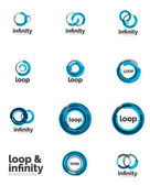 Loop, infinity business icon set — Stock Vector