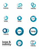 Loop, infinity business icon set — Stockvector