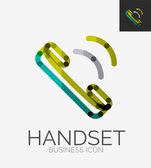 Minimal line design logo, phone handset icon — Stock Vector