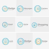 Thin line neat design logo collection — Stock Vector