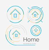 Thin line neat design logo set, home idea — Stockvector