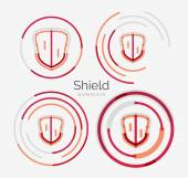 Thin line neat design logo, shield icon set — Stock Vector