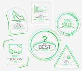 Minimal line design shopping stamps — Stockvector