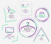 Minimal line design shopping stamps — Cтоковый вектор