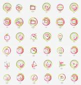Minimal thin line design web icon set, stamps — Stockvektor