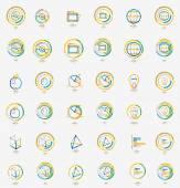 Minimal thin line design web icon set, stamps — Vecteur